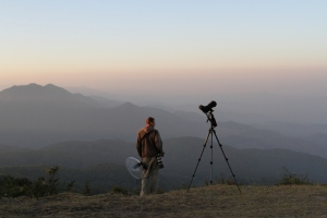 Overlooking the mountainside at sunrise. This is the location of the Buff-barred and Buff-throated Warblers.
