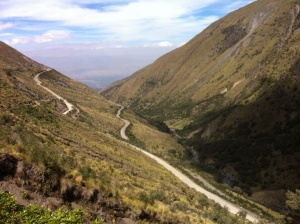 The road down the mountain. Somewhere in there we found the Andean Boulder Finch!