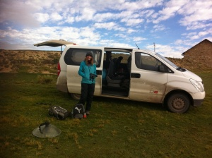 Me standing with our 'hired vehicle' - spacious enough for us to use as a portable hotel!
