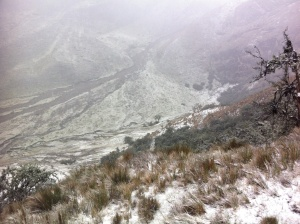 Snow and ice layer on the valley