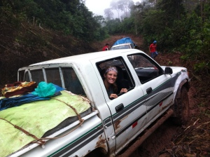 At times, the mud bank was so high on either side of the vehicle, that it would be parallel with the window!