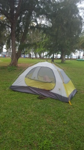 Tent in the grass less than 100 yards from the beach. Wish we could have spent every night here!