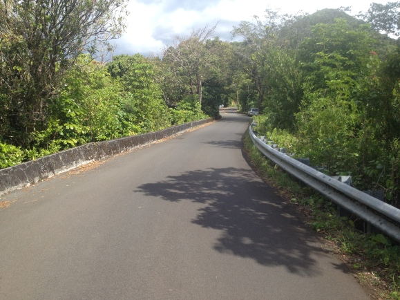 After 4 miles of steep uphill, the road even outs, park along this section