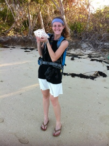 Holding a perfect conch shell the size of my head. I so wanted to take this back to me!