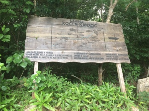 Sign at the beginning of the dirt road in Xocen